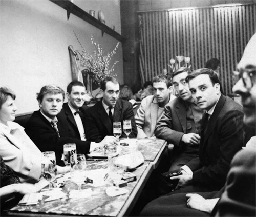 Charles Wilp's 1959 photograph of Margret Mack, Heinz Mack, Otto Piene, Jean Tinguely, Daniel Spoerri, Pol Bury, Yves Klein and Emmett Williams (from left to right) after the opening of