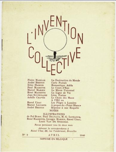 L'Invention Collective. Brussels, 1940. Cover, April 1940 (no. 2). Ryerson & Burnham Libraries