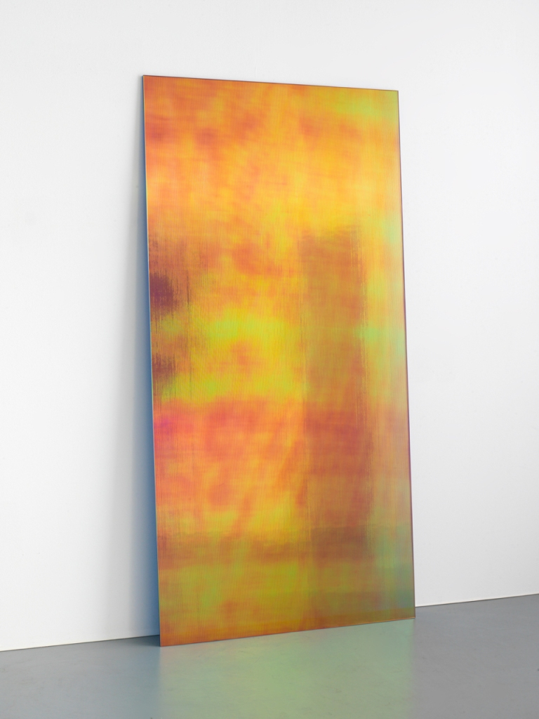 Ann Veronica Janssens, Gaufrette (Magma B), 2017, Annealed glass, vertical and horizontal ribs, PVC filter,240 x 120 cm