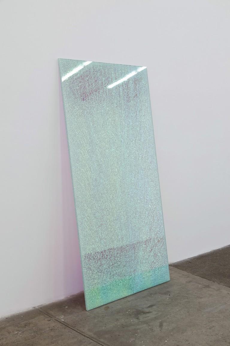 Ann Veronica Janssens Magic Mirror Pink, 2013 Dichroïc polyester film, security glass, float glass 200 x 100 cm