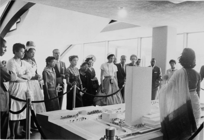 Wendy Grossman (1958) Little Rock Nine students looking at a model of the UN Headquarters, New York, NY.