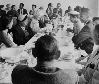 Mildred Grossman (1958) Little Rock Nine students lunching at the United Nations.