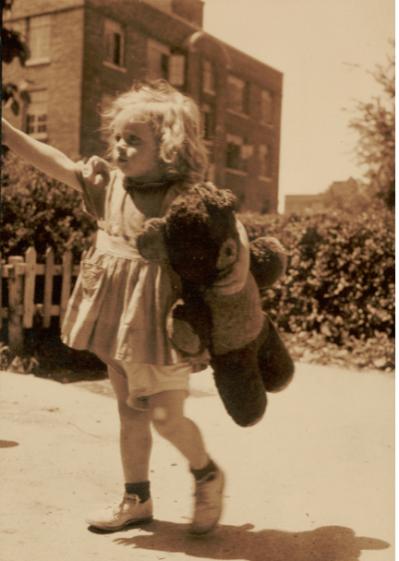 Polariod laboratory staff (June 20, 1946) Little Girl with Panda, test photograph. Polaroid Corporation Records, Baker Library, Harvard Business School.