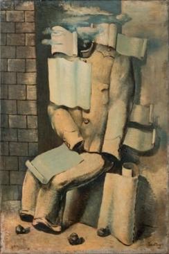Émile Savitry (1929) Amoureux entouré de ses lettres, oil on canvas 81 x 54 cm