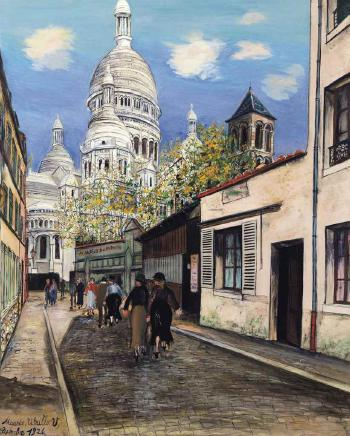 Maurice Utrillo (1926) Rue du Chevalier de la Barre, Les coupoles du Sacré-Cœur et le clocher de Saint-Pierre de Montmartre. Oil on canvas.