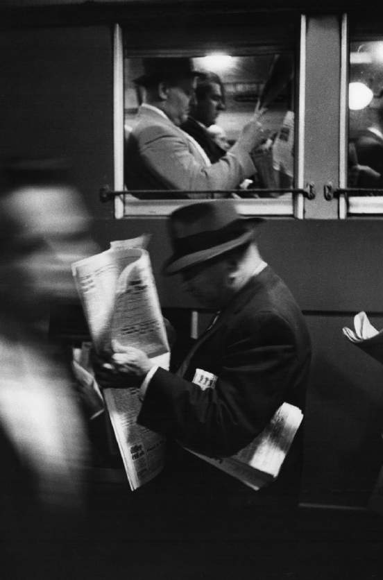Commuters Reading Newspaper, 1958