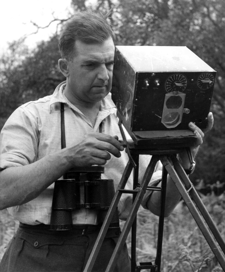 Eric Hosking setting up an automatic trip for use with High Speed Flash to Photograph birds in flight -1948