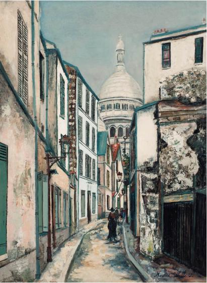 Maurice Utrillo Sacré Coeur à rue Saint-Rustique 72 x 54cm