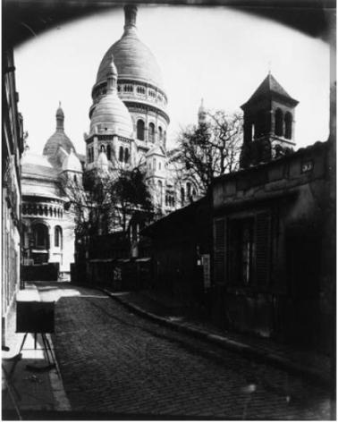 Eugène Atget (1924-26) Montmartre : Rue du Chevalier de la Barre. Contact print on albumen paper from glass plate 17.5 x 22.7 cm