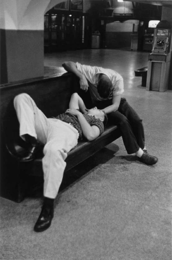 Penn Station- Sleeping Young Men, Waiting Room, 1958