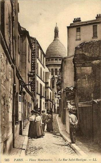 """Postcard by """"L.L."""" (n.d.) Vieux Montmartre—Rue Saint-Rustique"""