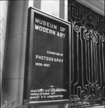 Beaumont Newhall (1937) the facade of the original Museum of Modern Art building, New York, during the exhibition Photography 1839-1937