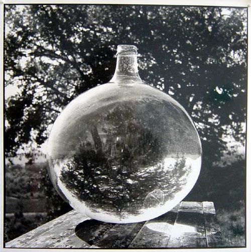 Bill Culbert Wine Bonbonne with Oak Tree, France, 2002 silver gelatin prints 40.5 × 40.5cm Edition of 25