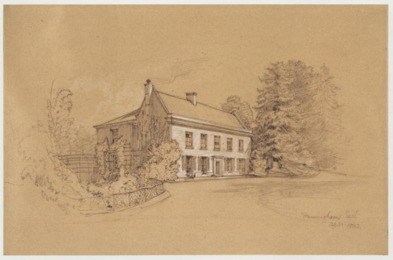 Framingham Earl Hall- view of the front of the house (folio 3, no. 9), 1842. Graphite, heightened with white, on buff paper, 16.7 x 25.3 cm