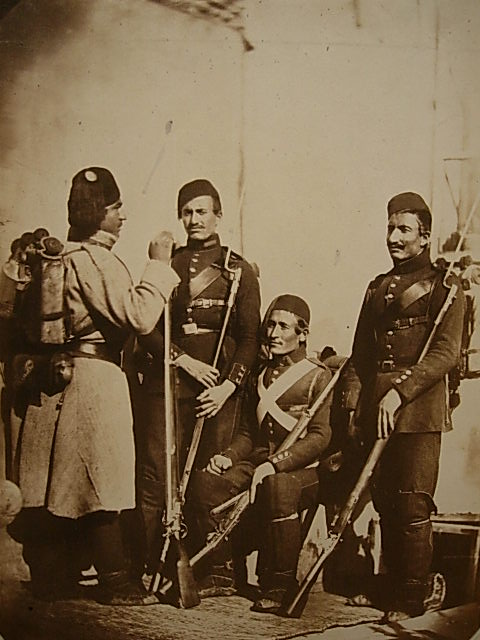 Carol Szathmari [Attributed to] Turkish infantry in the field 1854 Salted paper print 29.6 x 22.2 cm