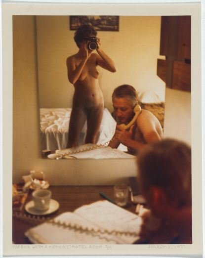 """Carol Jerrems (1977) Mirror with a memory: motel room 1977. Self-portrait Carol Jerrems with Esben Storm, Type C colour photograph, signed recto l.r., pencil, """"JERREMS ..."""" dated recto l.r., pencil, """"... 1977"""" titled recto l.l., pencil, """"MIRROR WITH A MEMORY: MOTEL ROOM. 2/9"""", 23.0 h x 18.0 w cm, Acknowledgement Gift of Mrs Joy Jerrems 1981, Accession no NGA 81.3078.206, Image rights, © Ken Jerrems and the Estate of Lance Jerrems"""