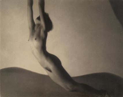 "František DRTIKOL (1927-1929) Nude, bromoil photograph, 21.8 × 27.5 cm, artist chop mark (in image) l.l.: COPYRIGHT / DRTIKOL PRAGUE inscribed in pencil on support l.r.: Drtikol / 1939 inscribed in ink on support reverse u.c.: F. Drtikol Praha II / Vodickr(...illeg) 7. / Czechoslavakia / ""Nude"" / /Pigment/ National Gallery of Victoria Accession NumberPH240-1971, Gift of C. Stuart Tompkins, 1971, © Frantisek Drtikol, courtesy of Rowena Knotková"