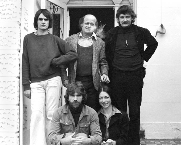 L to R Bernard Eddy, Tibor Markus, Paul Cox, Rod McNicol & Bariella Trsek (film crew) 40 Murray St Prahran 1974 Julie Higgingbotham