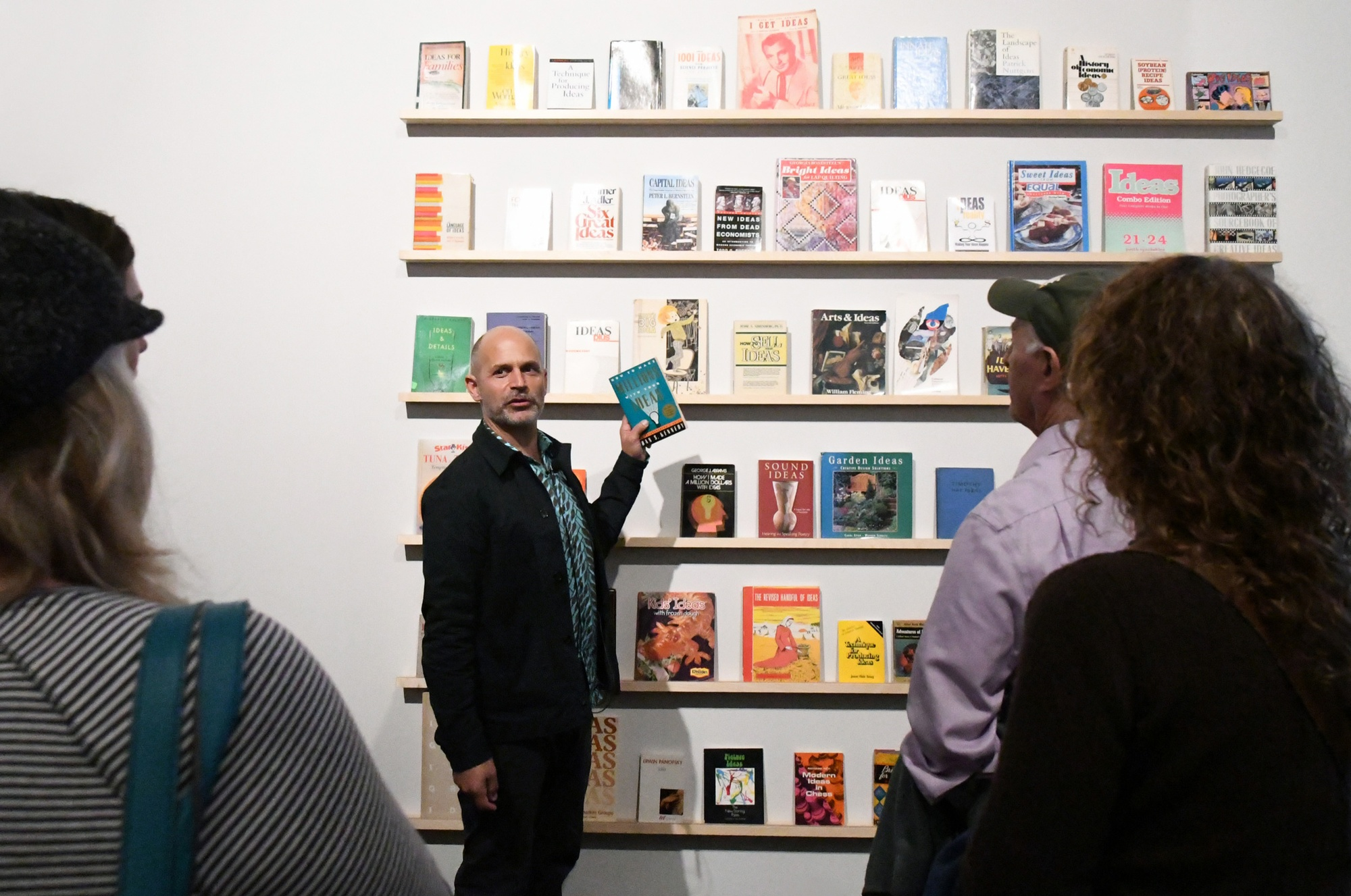 Tim Davis with Library of Ideas, 2018, during a gallery talk in Tim Davis When We Are Dancing (I Get Ideas), Tang Teaching Museum, 2018