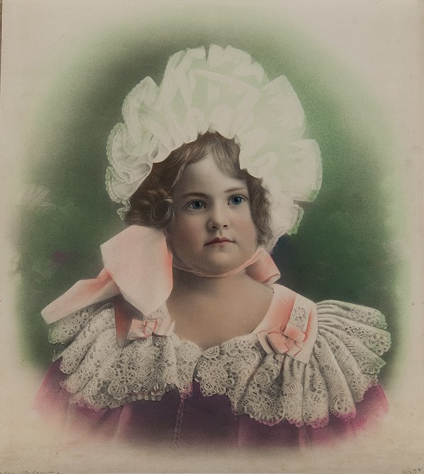Unidentified photographer Solar enlargement portrait of a girl c1900 Solar enlargement, hand-coloured 18 x 20 ins collection of Jack and Beverly Wilgus