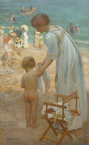 E. Phillips FOX (1909) Bathing Hour, Oil on canvas 180.0 x 112.0 cm. Castlemaine Art Museum, T.C. Stewart Bequest Fund, 1952