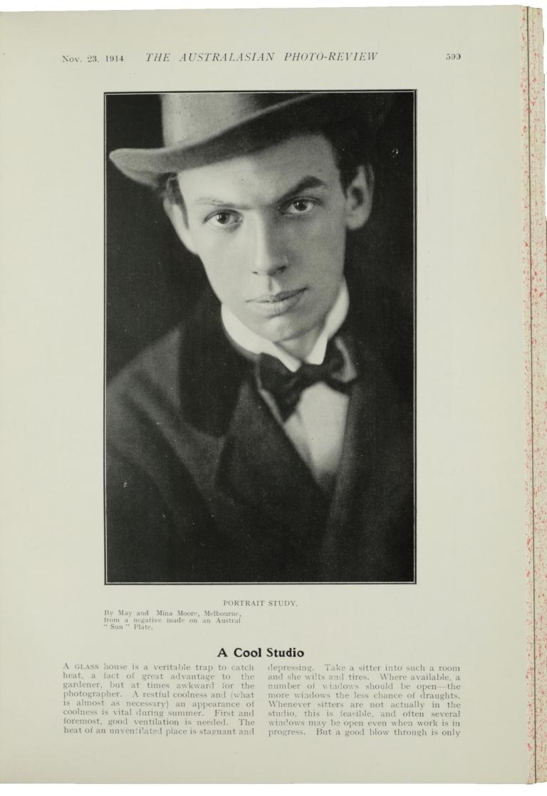 Moore portrait in Aust Photo Review 1914