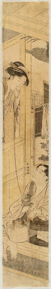 Shuncho Katsukawa (c.1780-1795) Couple and a Puppy, Woodblock print