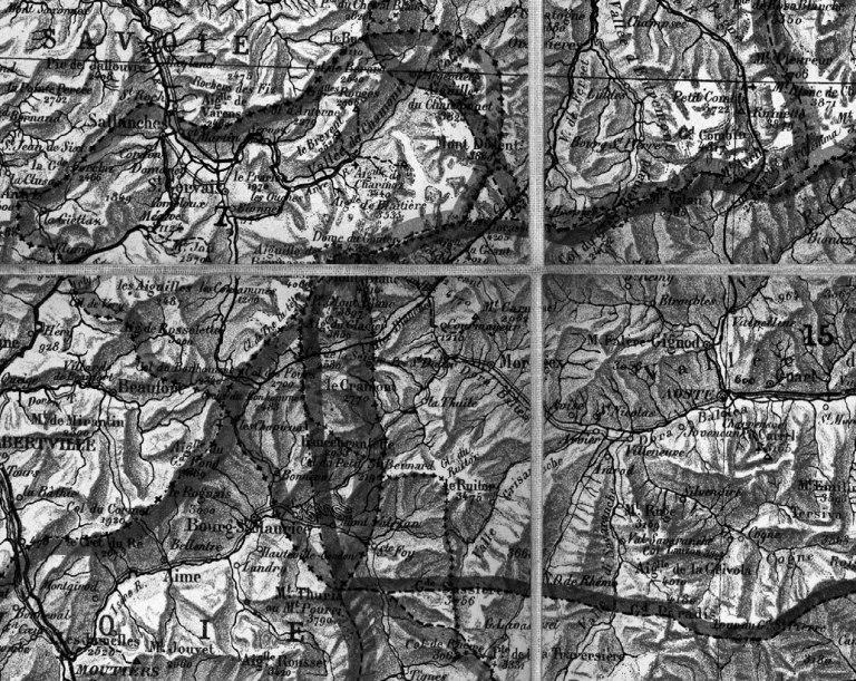 Aim´e Civiale, Carte des Alpes pour servir aux voyages photographiques (detail), 1882.