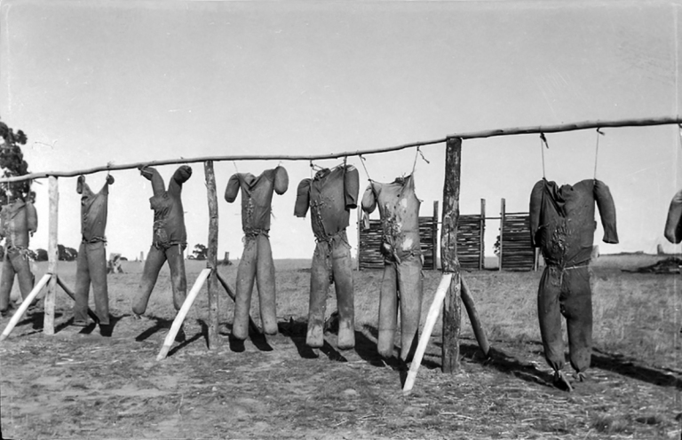 Straw effigies used for bayonet drill, Seymour Army Camp 1915, courtesy Victorian Collections