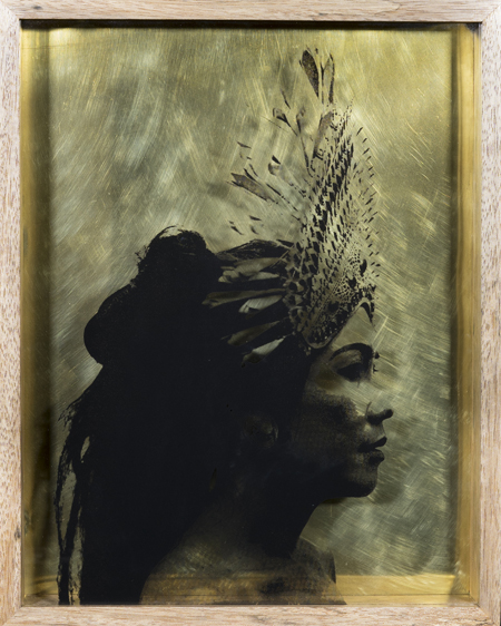 Ad Infinitum 2019 Screenprint on glass, brass, 46 x 35.5 cm